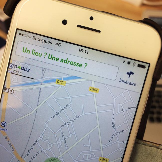L'application Mappy sur iPhone 6