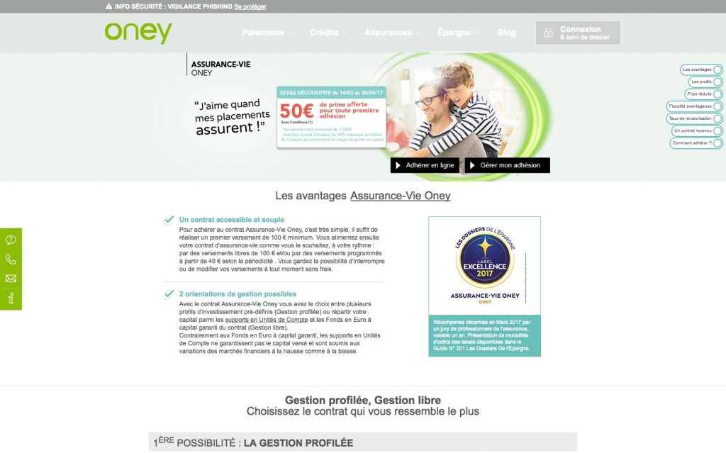 Page Oney Assurance Vie Ancienne Version